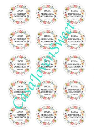 Papel de Azucar - Comunion - Circulos Flores