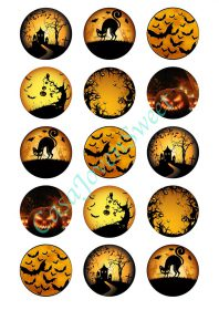 Papel de azucar - Halloween - Circulos Noche