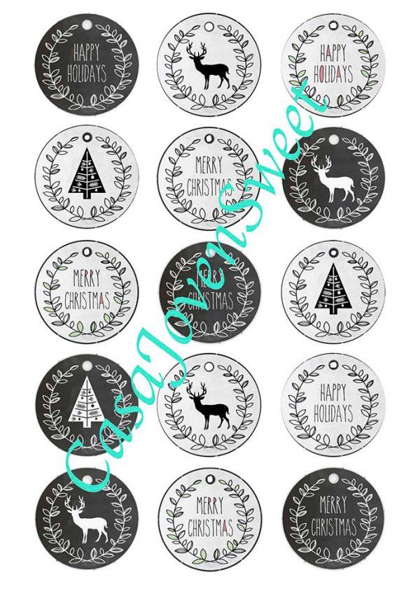 Papel de azucar - Navidad - Circulos Negro
