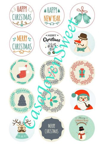 Papel de azucar - Navidad - Circulos Varios