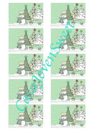 Papel de azucar - Navidad - Muñeco verde