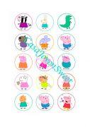Papel de azucar - Peppa Pig y sus amigos círculos