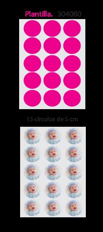 Papel de Azucar A4 en 15 circulos de 5cm