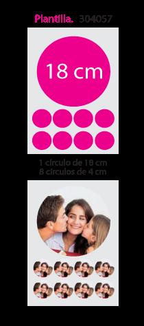 Papel de Azucar A4 en 1 circulo 18cm x 8 circulos 4cm