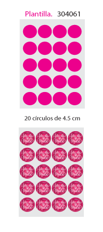 Papel de Azucar A4 en 20 circulos de 4.5cm