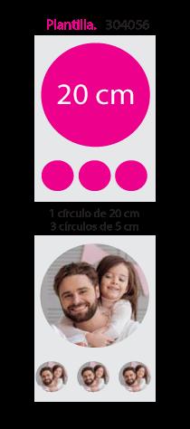 Papel de Azucar A4 en 1 circulo 20cm x 3 circulos 5cm