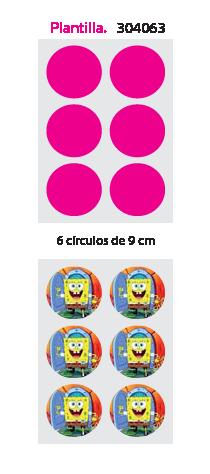 Papel de Azucar A4 en 6 circulos de 9cm